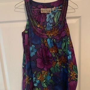 Tops - Boho floral beaded tunic